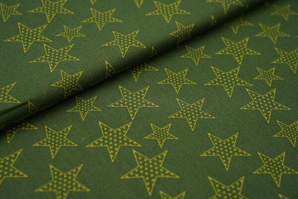 Baumwolle große olivgrüne Sterne auf khaki