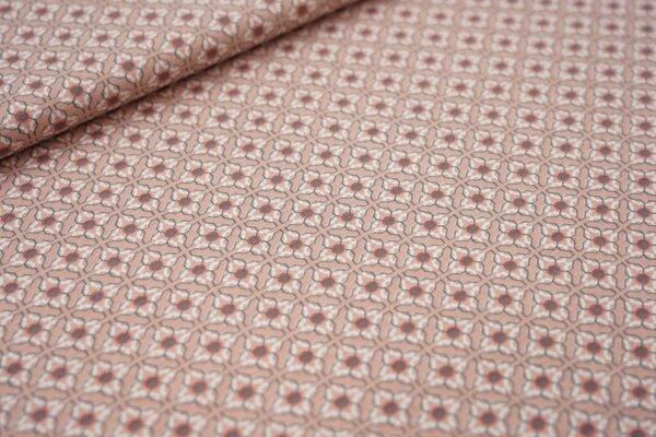 Baumwoll-Jersey Retro Kachel-Muster pastell altrosa / hellrot / grau / weiß