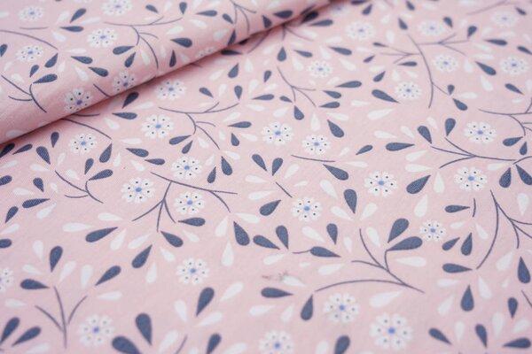 Sommer T-Shirt-Stoff / leichter Jersey Blumen und Tropfen auf rosa