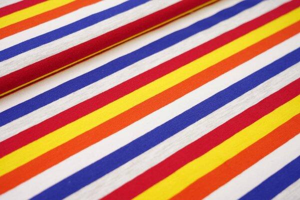Baumwoll-Jersey bunte Streifen Ringel rot gelb orange grau meliert blau weiß