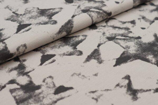 Baumwoll-Jerseystoff große abstrakte Sterne beige sand / schwarz