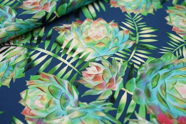 Baumwoll-Jersey Digitaldruck Dahlie Blume Farnblätter auf petrol blau