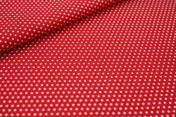 Baumwollstoff Baumwolle rot mit kleinen weißen Sternen