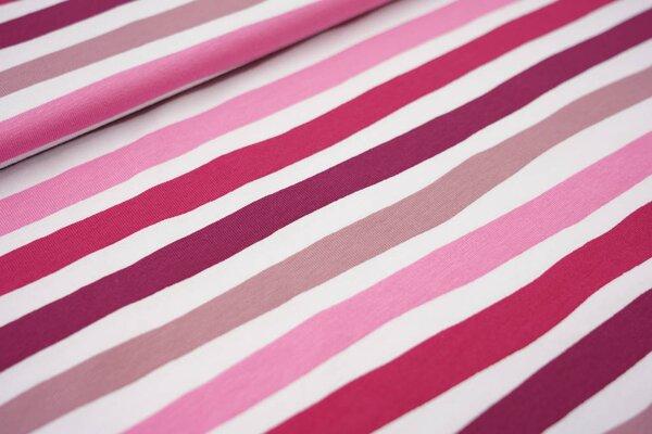 Baumwoll-Jerseystoff wellige Streifen rosa / altrosa / weiß / beere