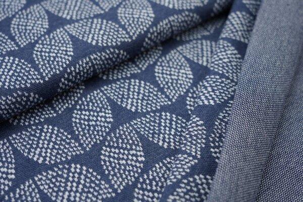 Jacquard-Sweat Mia hellblaues Blätter Muster auf navy blau Melange