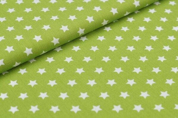 Baumwollstoff Baumwolle kleine Sterne grün / weiß