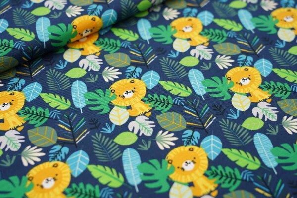 Baumwoll-Jersey Löwen im Blätterdschungel blau / grün / gelb / türkis