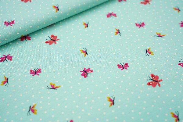 Baumwoll-Jersey Schmetterlinge und weiße Punkte auf mint