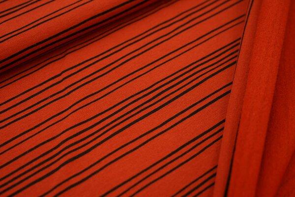 Kuscheliger Baumwoll-Sweat mit schmalen schwarzen Streifen Linien auf rostorange