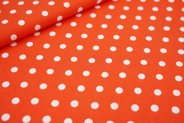 Baumwollstoff Baumwolle dunkel orange mit großen weißen Punkten