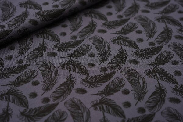 Baumwoll-Jersey schwarze Federn auf dunkelgrau