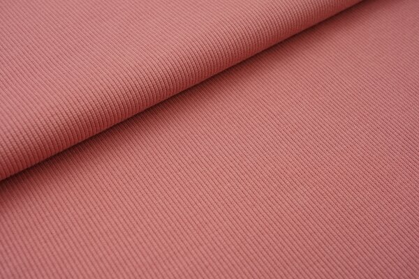 Baumwoll-Rip-Jersey einfarbig uni altrosa