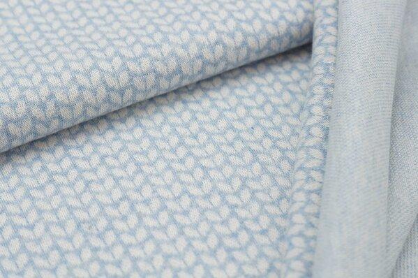 Jacquard-Sweat Mia kleine off white Blätter auf pastell hellblau Melange