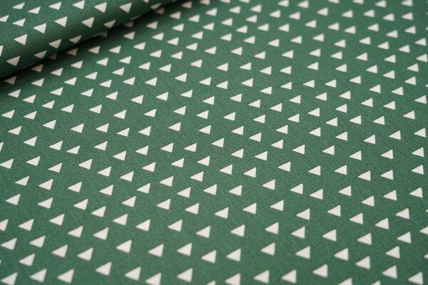 Baumwoll-Stoff weiße Dreiecke auf dunkelgrün