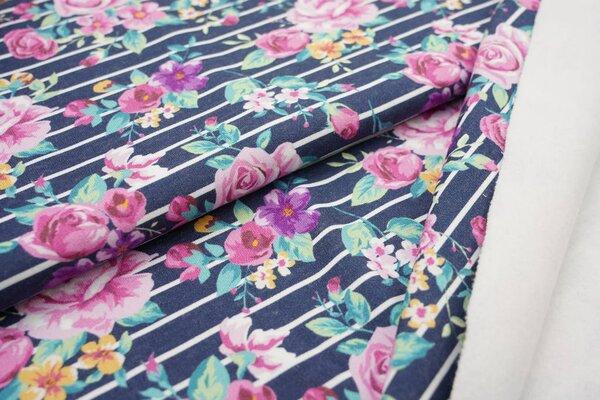 Dicker und kuscheliger Baumwoll-Sweat Blumensträuße Rosen auf Streifen dunkelblau / weiß