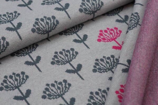 Jacquard-Sweat Ben dunkelgraue und amarant pinke Blumen auf hellgrau