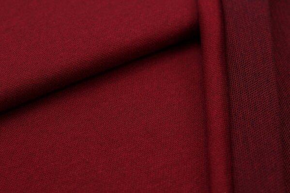 Jacquard-Sweat Ben bordeaux rot Uni mit bordeaux roter und schwarzer Rückseite
