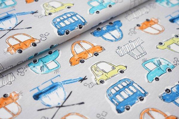 Sommer T-Shirt-Stoff / leichter Jersey Autos und Hubschrauber auf hellgrau