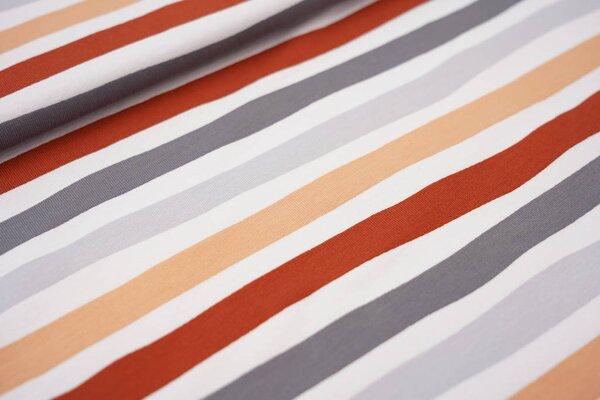 Baumwoll-Jerseystoff wellige Streifen lachs / rostorange / weiß / grau