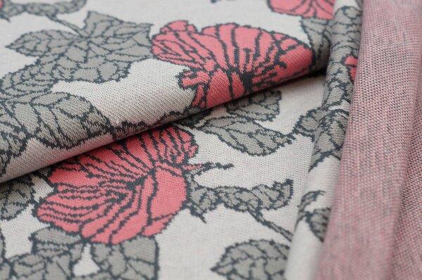 Jacquard-Sweat Ben Blumen-Muster mit Blättern off white / hellgrau / koralle