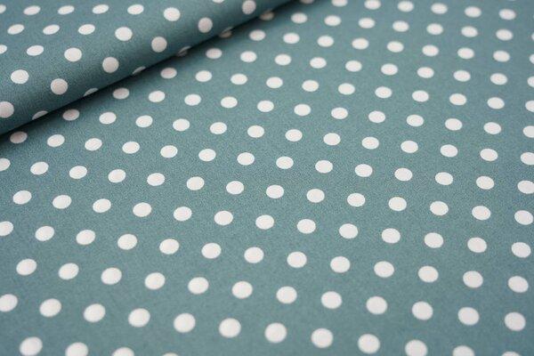 Baumwollstoff Baumwolle große Punkte dunkel altgrün / weiß