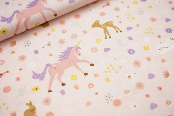 Baumwolle Glitzer Tiere und Blumen auf rosa Einhorn Reh Hase Vogel Schwan Pilze