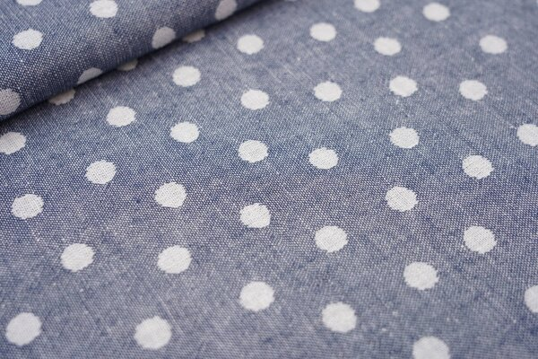 Baumwoll Jacquard doubleface Punkte blau / weiß