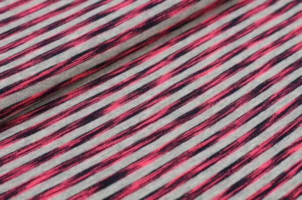 Baumwoll-Jersey Ringel Streifen und Striche schwarz / neon pink / grau meliert