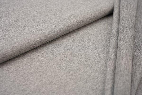 Baumwoll-Sweat Recycelt einfarbig uni mittelgrau meliert