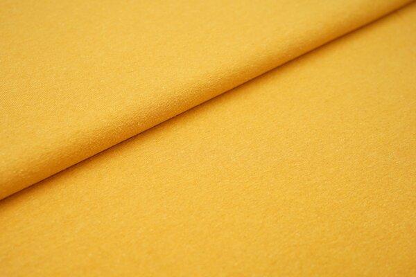 Baumwoll-Jersey Recycelt einfarbig uni senfgelb ocker meliert