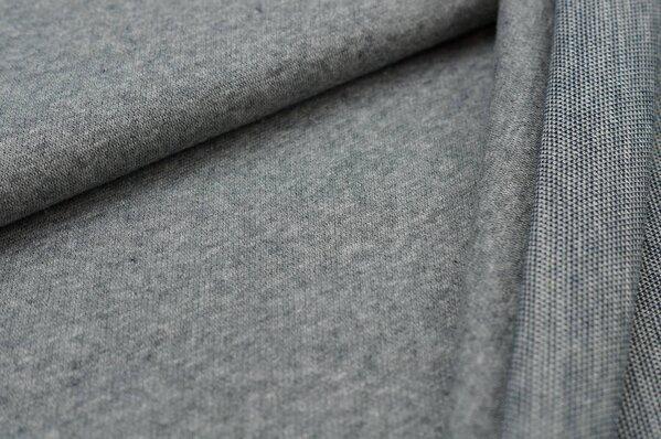 Jacquard-Sweat Mia mittelgrau Melange Uni mit mittelgrau / navy blau Rückseite