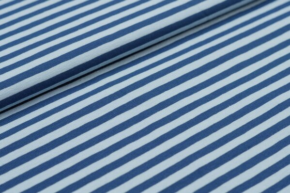 Baumwoll-Jersey Streifen Ringel taupe blau / hell blau