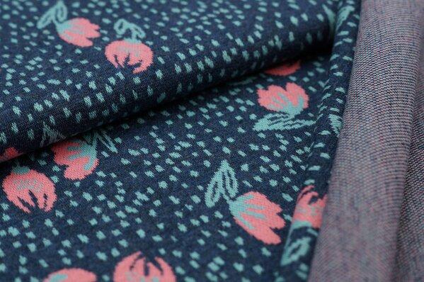 Jacquard-Sweat Mia kleine Blumen / Punkte navy blau melange / koralle / eisblau