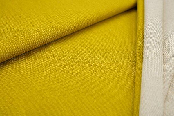 Canvas-Stoff Dekostoff in Leinenoptik uni senf oliv
