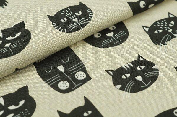 Dekostoff Canvas Katzengesichter Leinenoptik natur / schwarz / weiß