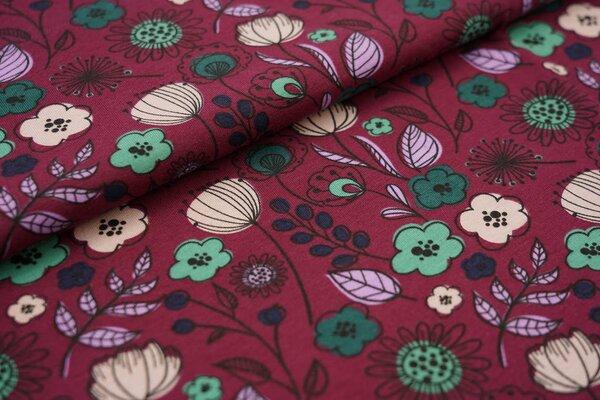 Baumwoll-Jersey mit Blumen und Blättern auf weinrot