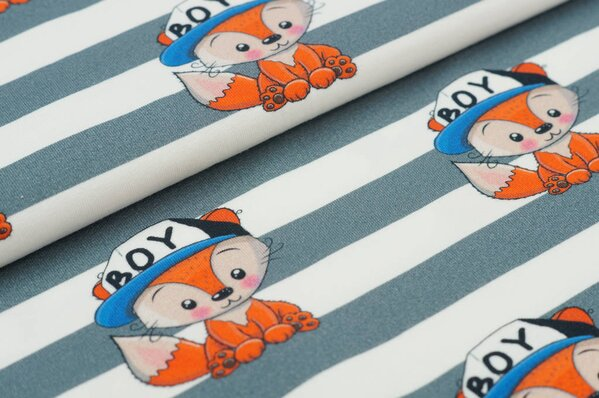 Traumbeere Baumwoll-Jersey Digitaldruck Fuchs Junge Boy Streifen off white grau