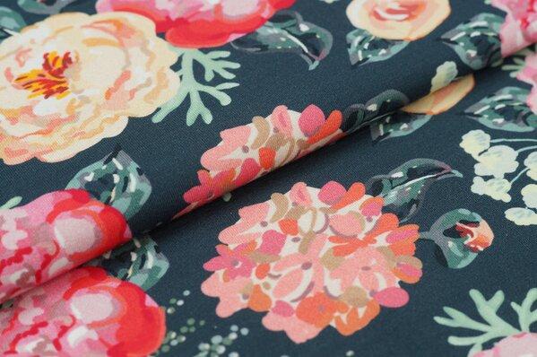Baumwoll-Jersey Digitaldruck Blumen Rosen auf dunkelgrau