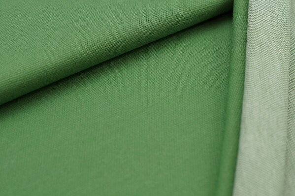 Jacquard-Sweat Ben grün Uni mit grüner und off white Rückseite