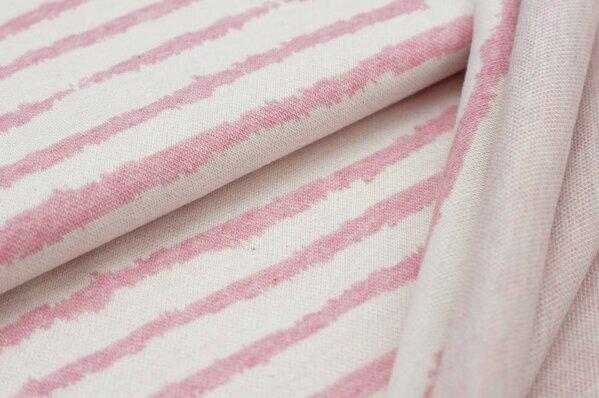 Jacquard-Sweat Mia Streifen pastell pink Melange / off white / mint Rückseite