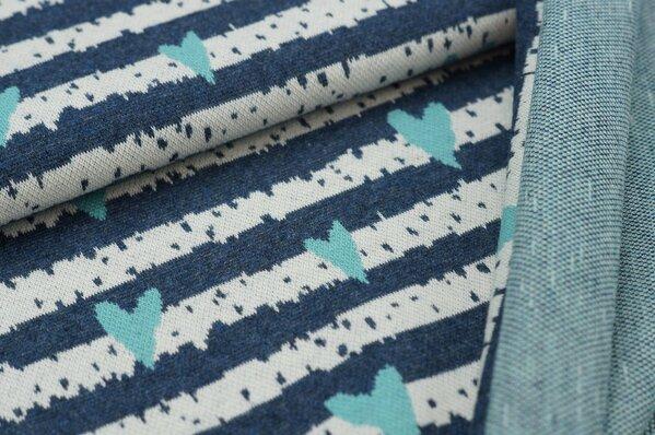Jacquard-Sweat Mia Herzen Streifen navy blau Melange / off white / eisblau