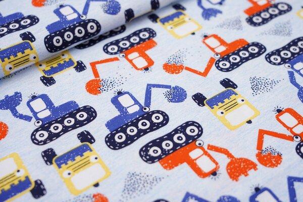 Sommer T-Shirt-Stoff / leichter Jersey Baustellenfahrzeuge Bagger hellbau / bunt