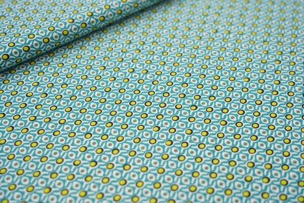 Baumwoll-Jersey Retro Gitter-Punkte-Muster türkis limette schwarz oliv weiß