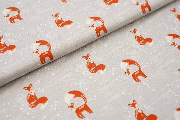 Baumwoll-Jersey Füchse im Schnee Winter auf grau Fuchs
