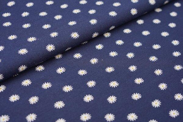 Baumwoll-Jersey Gänseblümchen auf dunkelblau Blumen in weiß und olivgelb