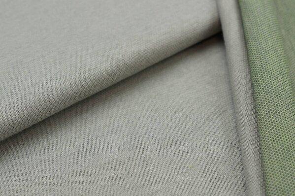 Jacquard-Sweat Ben hellgrau Uni mit hellgrauer und hellgrüner Rückseite