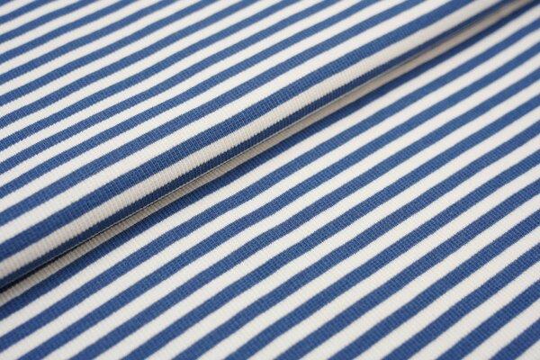 Ringelbündchen Marie gerippt taupe blau / off white Streifen