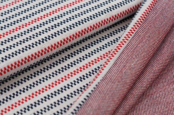 Jacquard-Sweat Ben Linien Muster Streifen off white / navy blau / rot