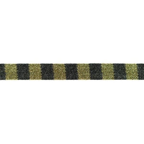 Glitzer Schrägband mit Blöcken in schwarz / gold 20 mm Zierband Glitzerband