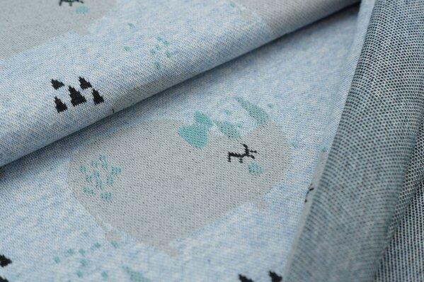 Jacquard-Sweat Mia Nashorn / Dreiecke pastell hellblau melange hellgrau altmint